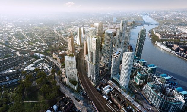 Artists' impression of 'Manhattan' at Vauxhall. Chelsea Bridge Wharf can be seen in the distance